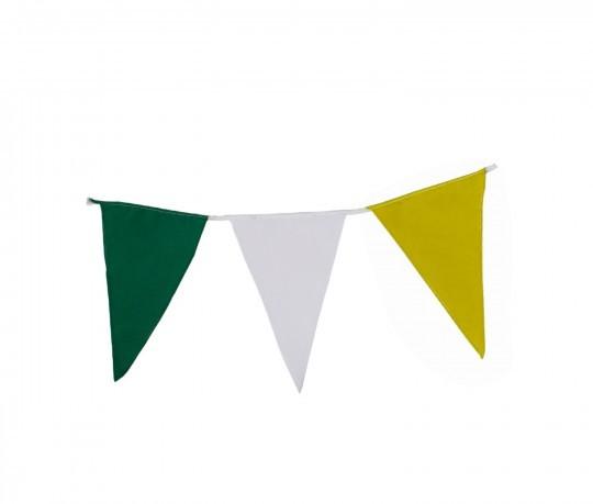 Wimpelkette grün-weiß-gelb aus Stoff (Meterware)