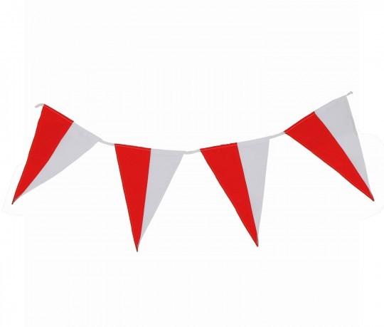 Wimpelkette rot-weiß (geteilt) aus Stoff Meterware