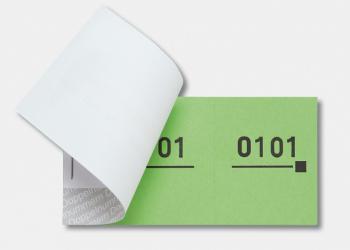 Nummernblocks = Doppelnummern, versch. Farben