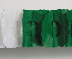 Maxi-Girlande grün/weiß oval
