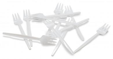 Kuchen- und Snackgabeln 100 Stk., weißer Kunststoff