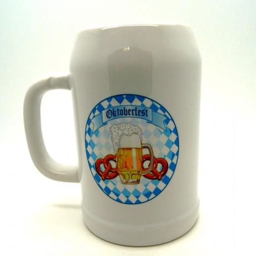 "Bierkrug 0,5l ""Oktoberfest Glas mit 2 Brezeln"" mit Ihrem Namen"