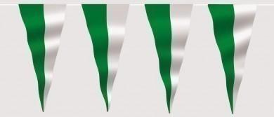 Wimpelkette grün-weiß (geteilt) aus Stoff Meterware