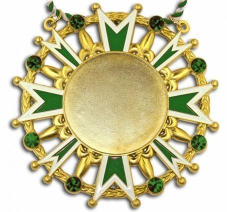 Karnevalsorden - Ehrenstern mit Schmucksteinen grün-weiß-gold