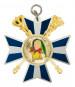 Karnevalsorden mit gekreuzten Zeptern+Kronen blau-weiß