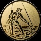 Emblem 25mm Fliegenangler im Wasser, gold