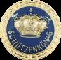 Auflage mit Krone + Schützenkönigschriftzug blau