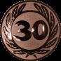 Emblem 25 mm Ehrenkranz mit 30, bronze