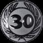 Emblem 25 mm Ehrenkranz mit 30, silber