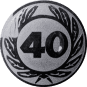 Emblem 25 mm Ehrenkranz mit 40, silber