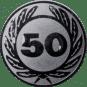 Emblem 25 mm Ehrenkranz mit 50, silber