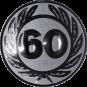 Emblem 25 mm Ehrenkranz mit 60, silber