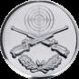 Emblem 25 mm Zielsch. mit Gewehren u. Eichenlaub, silber schießen
