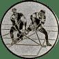 Emblem 25mm 2 Hokeyspieler, silber