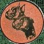 Emblem 25mm 2 Hundeköpfe, bronze