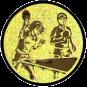 Emblem 25mm 2Tischtennisspieler Mix, gold