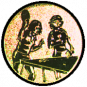 Emblem 25mm 2Tischtennisspielerinen, gold
