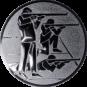 Emblem 25mm 3 Schützen s,k,l, silber schießen