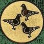 Emblem 25mm 3 Tauben, gold