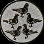 Emblem 25mm 5 Tauben, silber