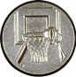 Emblem 25mm Basketball m. Korb 3D, silber