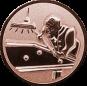 Emblem 25mm Billardspieler rechts 3D, bronze