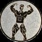Emblem 25mm Bodybuilding mänl., silber