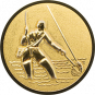 Emblem 50mm Fliegenangerler im Wasser 3D, gold