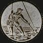 Emblem 25mm Fliegenangerler im Wasser, silber