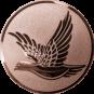 Emblem 25mm fliegende Taube, bronze