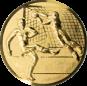 Emblem 25mm Fußballer, Torwart, Tor, 3D, gold