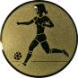 Emblem 25mm Fußballspielerin m. Ball, gold