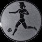 Emblem 25mm Fußballspielerin m. Ball, silber
