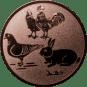 Emblem 25mm Hahn, Henne, Taube, Hase, bronze