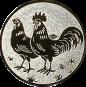 Emblem 25mm Hahn und Henne, silber