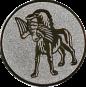 Emblem 25mm Hund apportiet Vogel im Maul, silber