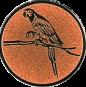 Emblem 25mm Papagei, bronze