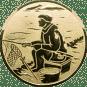 Emblem 50mm sitzender Angler, gold