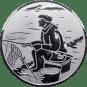 Emblem 25mm sitzender Angler, silber