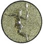 Emblem 25mm Tennisspielerin, gold 3D