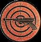 Emblem 25mm Zielsch. mit Pistole, bronze schießen