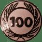 Emblem 50 mm Ehrenkranz mit 100, bronze