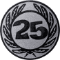 Emblem 50 mm Ehrenkranz mit 25, silber