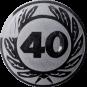 Emblem 50 mm Ehrenkranz mit 40, silber