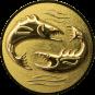 Emblem 50mm 2 Fische 3D, gold