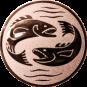 Emblem 25mm 2 Fische, bronze