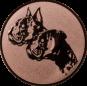 Emblem 50mm 2 Hundeköpfe, bronze