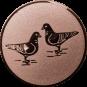 Emblem 50mm 2 Tauben, bronze
