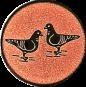 Emblem 25mm 2 Tauben, bronze