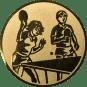 Emblem 50mm 2 Tischtennisspieler Mix, gold